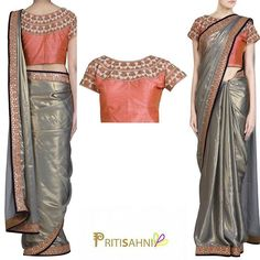 Grey shimmer saree with gota work and peach accent and peach raw silk blouse Saree Blouse, Sari, Big Indian Wedding, Grey Saree, South Asian Bride, Georgette Sarees, Party Looks, Bollywood Fashion, Shades Of Grey