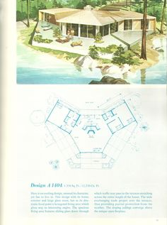 Vintage House Plans, Vacation house plans, vacation homes Modern House Floor Plans, Contemporary House Plans, House Plans With Pictures, Vintage House Plans, House Blueprints, House Drawing, Cottage Design, Mid Century House, Beautiful Buildings
