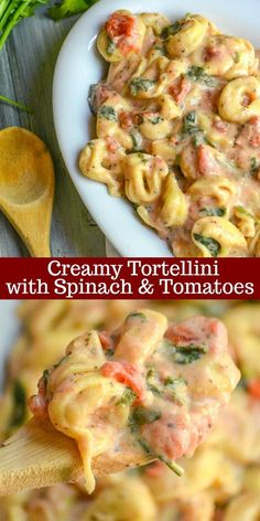 saucy pasta dinner can be hard to find in one dish, but this Creamy Tortellini with Spinach & Tomatoes certainly does deliver.A saucy pasta dinner can be hard to find in one dish, but this Creamy Tortellini with Spinach & Tomatoes certainly does deliver. Easy Dinner Recipes, New Recipes, Easy Meals, Favorite Recipes, Healthy Recipes, Spinach Recipes, Meals With Spinach, Meatless Pasta Recipes, Creamy Pasta Recipes
