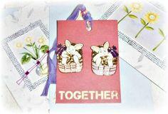 Retro Bunny Basket Earrings Easter Stud Earrings Hare Pair of