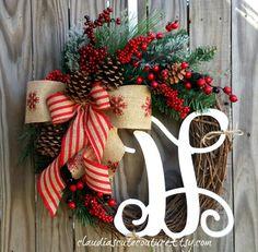 Christmas Wreath,Winter Wreath,Holiday Wreath,Christmas Door Decor,Wreath for Christmas,Pine cone Wreath,Red Berries Wreath,Wreath