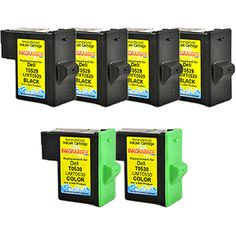 InkGrabber.com SIX PACK - Remanufactured Dell Inkjet Cartridges (4 Black, 2 Color) Replaces Dell T0529, T0530, K1014, K1017 (Dell Inkjet 720, Dell Inkjet A920)