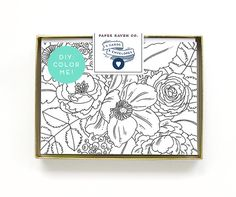DIY Coloring Card - Color Me Card - Box Set of 5 Cards - Floral Coloring Card Blank Inside