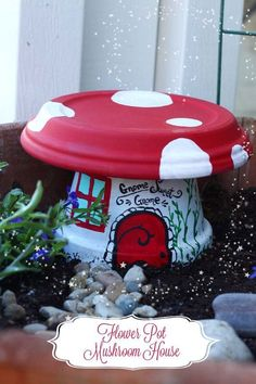 Create a little toadstool house for your fairy garden this spring! Create a little toadstool house for your fairy garden this spring! The post Create a little toadstool house for your fairy garden this spring! appeared first on Garden Easy. Flower Pot Crafts, Fairy Crafts, Clay Pot Crafts, Flower Pots, Plant Crafts, Flowers, Fairy Garden Houses, Gnome Garden, Fairy Houses Kids