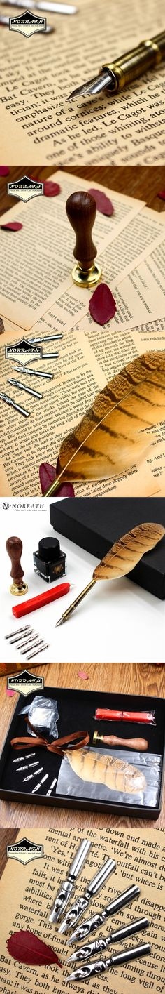 Excellent Vintage European Feather Fountain Pen Luxury Gift Box Quill Ink Pen With 5 Nibs Stamp Signature Pen Stationery Set