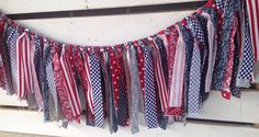 Red white and blue patriotic fabric rag garland shabby chic patriotic decor  on Etsy, $25.00