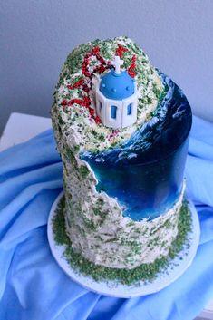 Island Cake, Ocean Cakes, Buttercream Cake, Gelatin, Sydney Australia, Celebration Cakes, Yummy Cakes, Santorini, Special Occasion