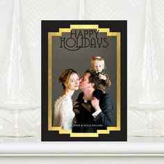 Very Gatsby with this 'Great Glamour' design. Flat #Holiday Photo Cards in black and gold.
