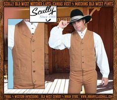 Scully Old West Notched Lapel Canvas Vest- Brown From Tribal And Western Impressions- Old West Cowboy And Indian Store - www.indianvillagemall.com