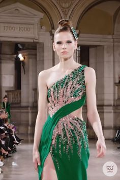 Beautiful Pink Embroidered Green Slit One Shoulder Evening Maxi Dress / Evening Gown with a Train. Spring Summer 2019 Couture Collection. Runway Show by Tony Ward. Indian Fashion Dresses, Abaya Fashion, Couture Fashion, Paris Fashion, Runway Fashion, Tulle Prom Dress, Bridal Dresses, Podium, Resort Dresses