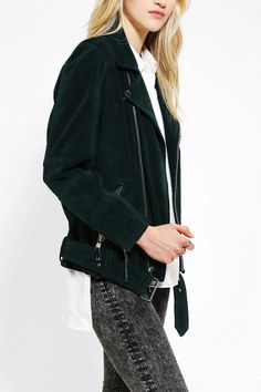 COMUNE Emerald Suede Moto Jacket Urban Outfitters