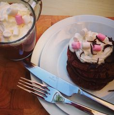Hot Chocolate Pancakes and Marshmallows