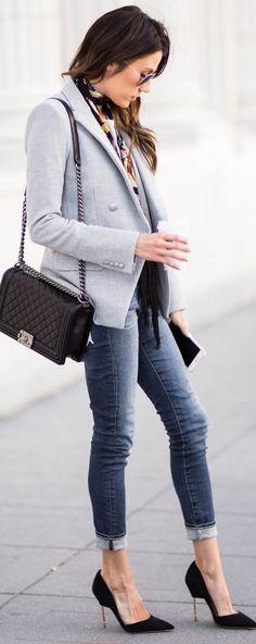 Grey blazer + black heels.