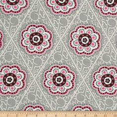 Floral Medallions Retro Flower Medallion Grey/Pink/Cream from @fabricdotcom  From David Textiles, this cotton print is perfect for quilting, apparel, and home decor accents. Colors include gray, shades of pink, white, and burgundy.