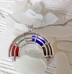 Rainbow locket of sea glass necklace - beach glass rainbow - sea glass rainbow.