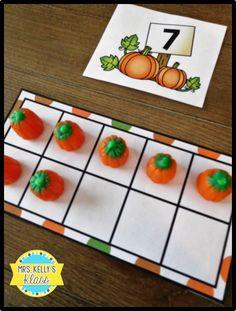 Ten and teen frame building with candy pumpkins! Fall Preschool Activities, Numbers Preschool, Preschool Math, Halloween Activities, Math Classroom, Fun Math, Kindergarten Math, Number Activities, Math Art