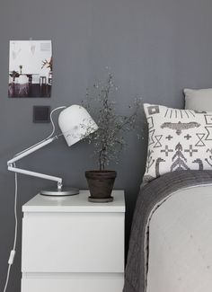 Floating Nightstand, Floating Shelves, Grey Wall Color, Blue And Green, Bedroom Wall Colors, Healthy Living Magazine, Grey Walls, Rustic Farmhouse, Retro