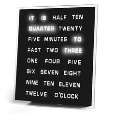unique LED clock that tells time in words. cool room decor for teenagers. Christmas gift ideas for teen boys.