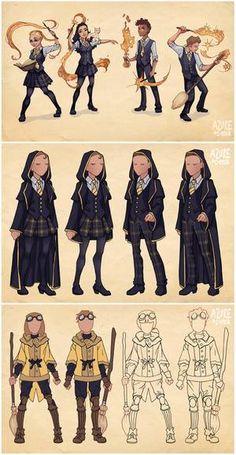 Ilvermorny School Uniforms by Azure-and-Copper on DeviantArt - Harry Potter - Harry Potter Uniform, Mode Harry Potter, Estilo Harry Potter, Hogwarts Uniform, Arte Do Harry Potter, Harry Potter Artwork, Harry Potter Cosplay, Harry Potter Drawings, Harry Potter Outfits