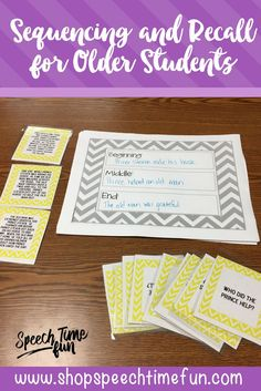 Sequencing and Recall for Older Speech Students - graphic organizer, comprehension questions, and review worksheet included