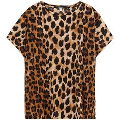 R13 Leopard Boy Tee - Print ($345) ❤ liked on Polyvore featuring tops, t-shirts, boyfriend t shirt, loose tee, animal print tees, print t shirts and crew t shirts