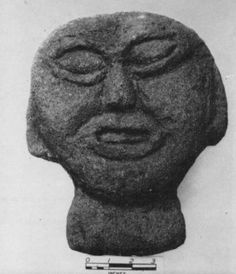 Iron age Beltany stone head said to have been found at the great stone stone circle at Beltany, Co. Donegal.