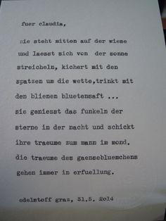 Sag mir ein Wort und ich schreib dir ein Gedicht. Wortfachgeschaeft @ Designmesse Edelstoff in Graz. Inspirationswort: Gänseblümchen