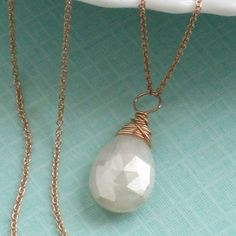 Silverite Briolette Necklace Wire Wrapped in by ShopSomethingBlue, $44.00
