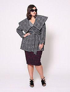 Boucle Plaid Wrap Coat by Christian Siriano