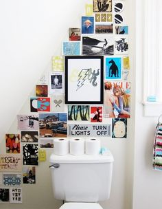 Make the most of a small space above the toilet with a wall collage