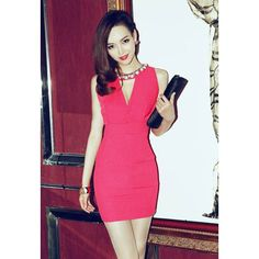 Sexy Plunging Neck Solid Color Bead Embellished Women's Party Dress, ROSE, ONE SIZE in Club Dresses | DressLily.com