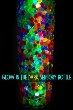 Glowing Sensory Bottle: A Super Magical Glow-in-the Dark Bottle! - - Make a super magical glowing sensory bottle using just two fun, sensory ingredients! A super tool for encouraging kids to observe and discuss visual change. Sensory Bottles Preschool, Sensory Bags, Sensory Activities, Sensory Play, Toddler Activities, Sensory Rooms, Sensory Table, Motor Activities, Calm Down Jar