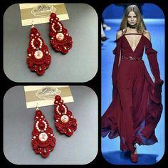 Swarovski crystal Burgundy chandeliers Earrings soutache Fall Wedding Attire, Soutache Earrings, Chandelier Earrings, Swarovski Crystals, Burgundy, Trending Outfits, Chandeliers, Unique Jewelry, Macrame