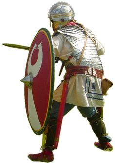 Reenactor wearing scale body armor and a helmet similar to the famous Golden Helmet, found near the remains of Sirmium (Sremska Mitrovica in Serbia).