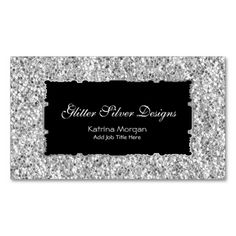 Glitter Silver Elegance Business Cards. This is a fully customizable business card and available on several paper types for your needs. You can upload your own image or use the image as is. Just click this template to get started!