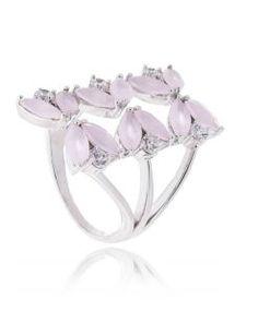 anel flutuante da moda de folhas quartzo rosa semi joia