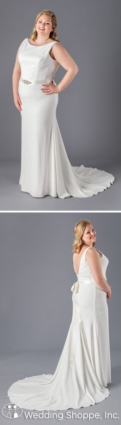 Kennedy Blue Danielle: A simple, yet oh-so chic plus size wedding dress with a fitted sheath silhouette. Made of lightweight crepe fabric, its high, sleeveless neckline is timeless, but turn around and jaws will drop.