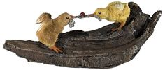 "Amazon.com: Custom & Unique {9.75"" x 3.75"" Inch} 1 Single, Home & Garden ""Standing"" Figurine Decoration Made of Grade A Resin w/ Baby Chicks Playing Tug of War On Branch Style {Brown, Yellow, & Beige}: Home & Kitchen"