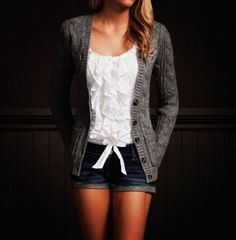 hollister outfit, blue shorts, white ruffle top, grey cardigan Although I like it without the grey cardigan.