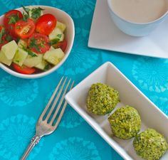 Homemade Baked Falafel with Tangy Tahini Sauce - watch out! This recipe is just too yummy. Serve it with cucumber salad. #CleanEating #Salad