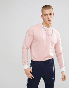 ASOS Oversized Long Sleeve T-Shirt With Contrast Ringer And Contrast C