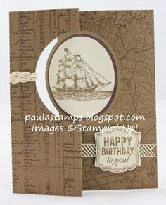 Colors: Soft Suede & Ivory. Stamps: The Open Sea, Label Love, World Map, & Perfect Pennants. Big Shot: Circle Card Thinlits Die, Circle Framelits. Punch: Artisan Label and 2-1/2 Circle. Accessories : Naturals Ivory Card Stock, Gold Baker's Twine