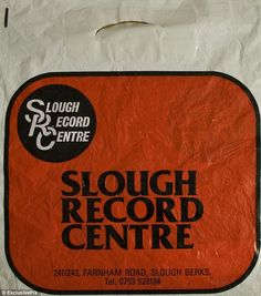 A red and white retro record bag from the Slough Record Centre in Berkshire Vinyl Store, Buy Vinyl, Music Images, Band Photos, Cd Cover, Music Industry, Vinyl Records, 1970s, Red And White