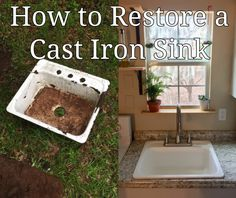 How to Restore a Cast Iron Sink How to Restore a Cast Iron Sink – Old Man Stino Always wanted to learn to knit, nevertheless undecided where do you star. Vintage Kitchen Sink, Vintage Bathroom Sinks, White Bathroom Tiles, Kitchen And Bath, Cast Iron Farmhouse Sink, Cast Iron Kitchen Sinks, Cast Iron Sink, Restore Cast Iron, Tile Refinishing