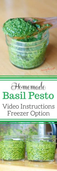 Homemade Basil Pesto Recipe: This is a quick and easy pesto sauce recipe using fresh basil. Check out the video instructions and the freezing option.