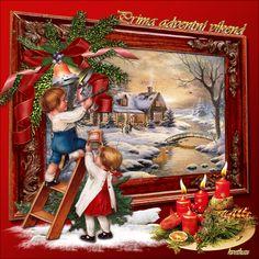 Painting Christmas Old Christmas, Christmas Scenes, Christmas Pictures, Christmas And New Year, Belle Photo, Christmas Decorations, Santa, Animation, Candles