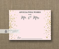 """Blush Pink & Gold Glitter Advice Card Bride To Be INSTANT DOWNLOAD 5x7"""" Bridal Shower Well Wishes Mr.  Mrs. Printable or Printed- Remy"""