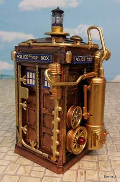 Emma J, a member of the Playmobil Collectors Club, made these delightfully steampunk versions of a Dalek and the Doctor's TARDIS. Steampunk is a fun style, but it must aggravate Daleks, as they are once again hindered by stairs.-via Nerd Approved.