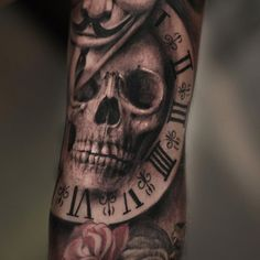 Skull with watch - 100 Awesome Skull Tattoo Designs <3 <3