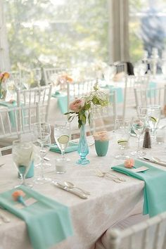 to help you imagine what your white chiavari chairs, white linens, robin's egg blue napkins, and blush flowers will look like